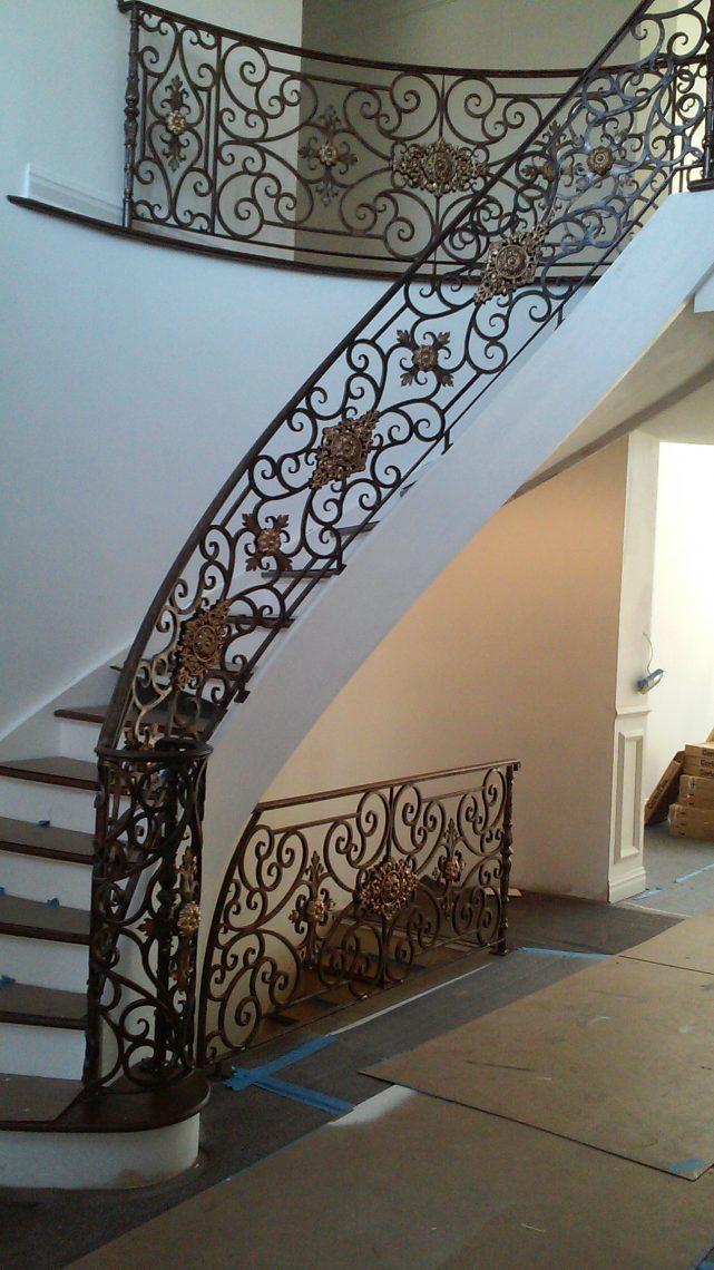 Residential Spiral Stair Ornamental Rail Stamford Iron Steel